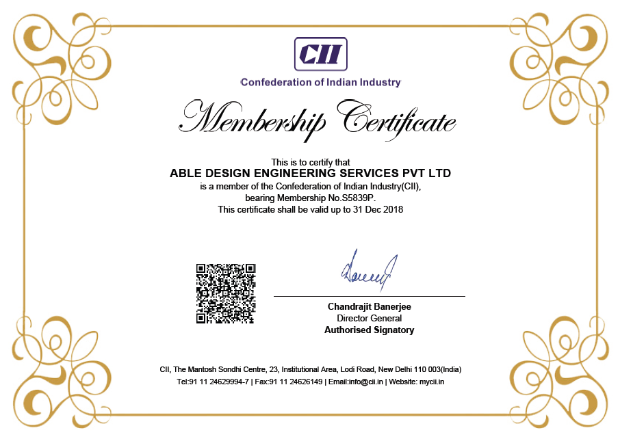 Certifications Able Design Engineering Services Pvt Ltd